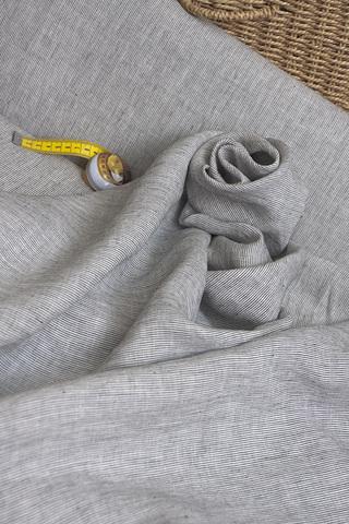 Ткань льняная смягченная, полосочки на светлом фоне