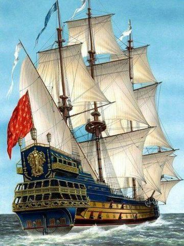 Алмазная Мозаика 40x50 Кораблль с красным флагом (арт. VR1016)