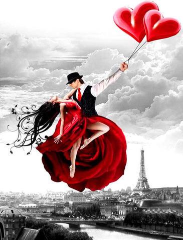 Картина раскраска по номерам 40x50 Танцующая пара в воздухе над Лондоном  (арт. RA3304)