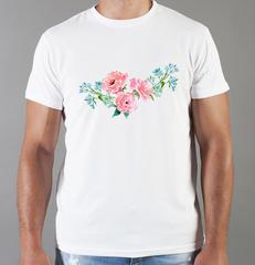 Футболка с принтом Цветы (Пионы) белая 0020