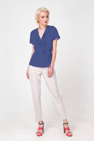 Фото синяя блуза с воланами и запахом - Блуза Г670а-322 (1)