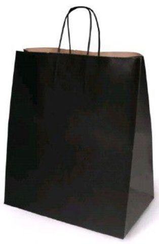 Пакет бумажный крафт черный с кручеными ручками 240х140х280 мм