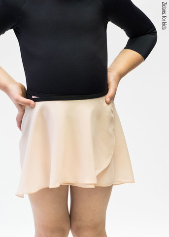 Wrap chiffon skirt with black contrast ribbon | milky_white