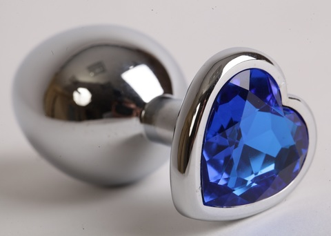 Пробка металлическая 8х3,5см с сердечком синий страз 47105-1-MM
