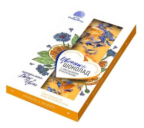 Шоколад цветной с апельсином и васильком / 100 г
