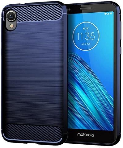 Чехол синего цвета на Motorola Moto E6, серия Carbon от Caseport