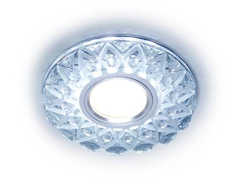 Встраиваемый точечный светильник с LED подсветкой S375 CL/FR прозрачный/матовый GU5.3+3W(LED WHITE) D120*25