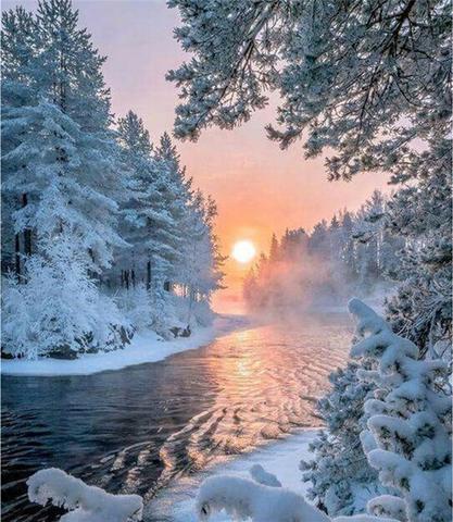 Алмазная Мозаика 40x50 Речка снежной зимой (арт. VR1017)