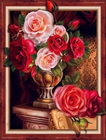 Алмазная Мозаика 5D 40x50 Розы в вазе (арт. 3DZX112 )