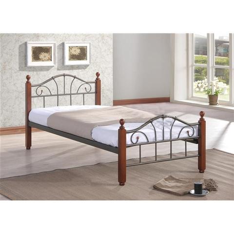 Односпальная кровать МИРА металлическая с деревянными ножками 90х200 темный орех