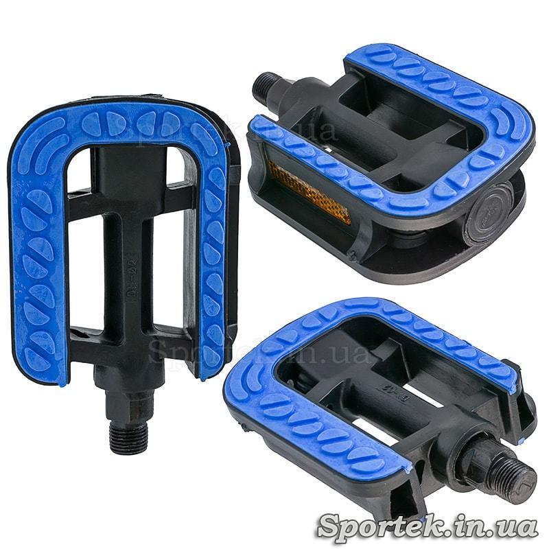 Педали велосипедные пластмассовые прогулочные сине-черные