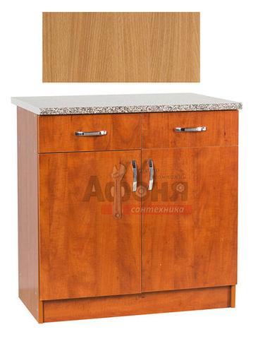 Рабочий стол  80 цвет бук (2 ящика) ,стол. КАРАРА (ЛДСП)