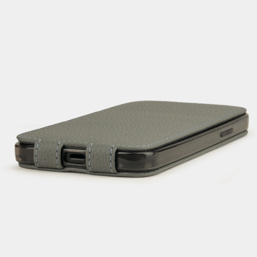 Чехол для iPhone 12/12Pro из натуральной кожи теленка, стального цвета