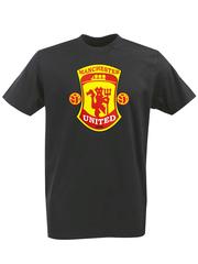 Футболка с принтом FC Manchester United (ФК Манчестер Юнайтед) черная 0002