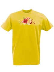 Футболка с принтом Цветы (Пионы) желтая 002