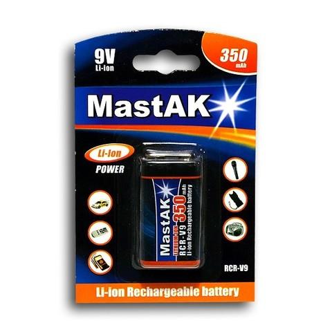 Аккумуляторы Mastak 6F22, крона, 350mAh, 7.4V, Li-ion