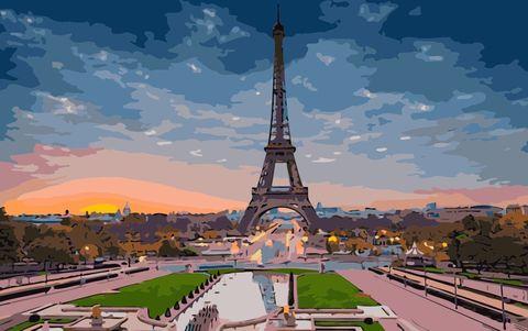 Картина раскраска по номерам 40x50 Эйфелева башня
