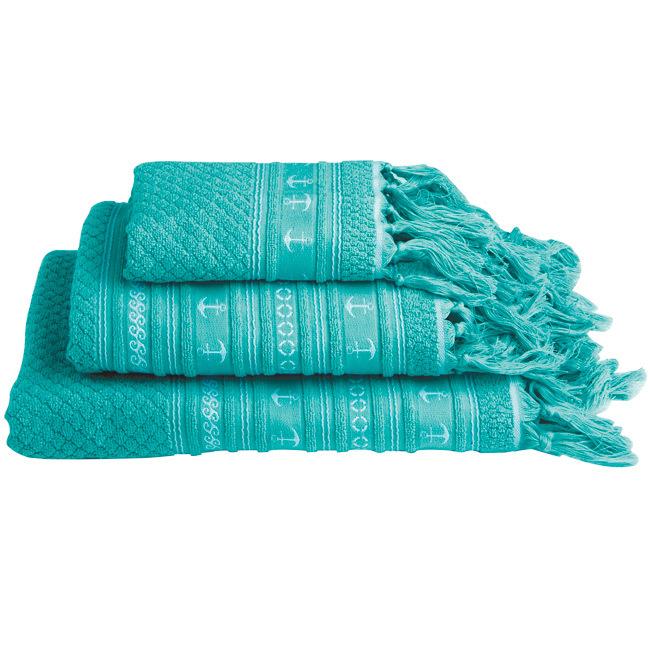 Santorini anchors towel set / aqua
