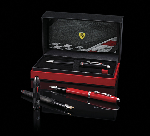 Cross Townsend - Ferrari Brushed Black Etched Honeycomb Pattern/Black PVD, шариковая ручка123