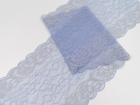 Эластичное кружево, нежно-голубое, с бежевой нитью по краю, 22см (Арт: EK-2131), м