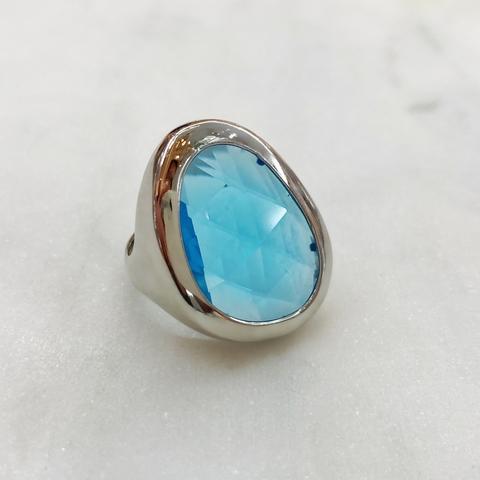 Кольцо Vi Морейн (капля хрусталь) голубой