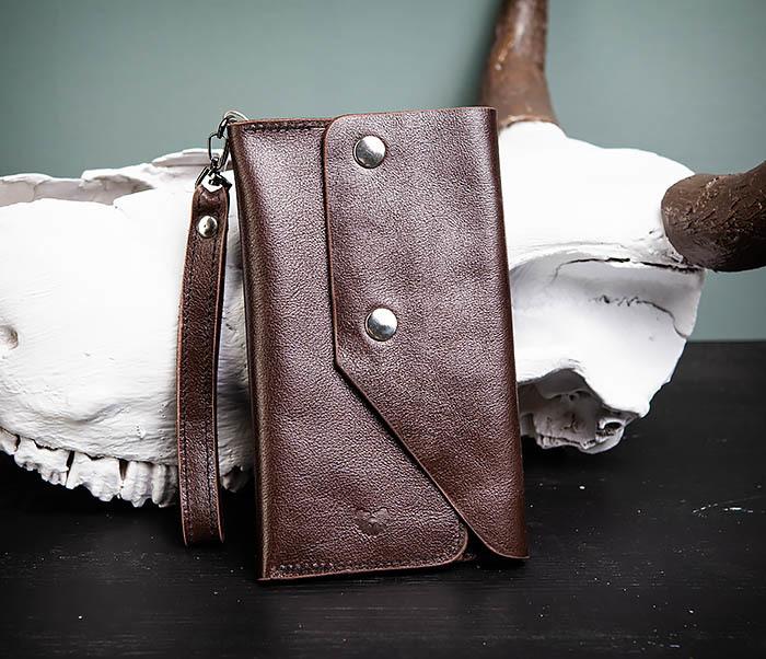 WL242-2 Вместительный кошелек (клатч) из натуральной кожи, ручная работа