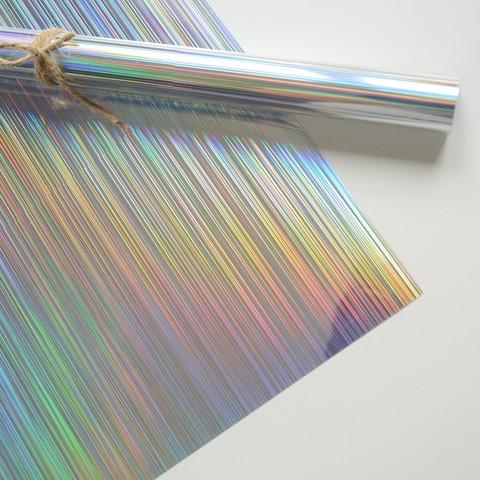 Термотрансферная пленка металлик, спектр голографический, серебро 25х25 см
