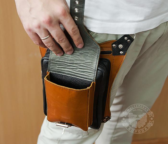 BAG369-6 Крутая мужская сумка на бедро из натуральной кожи, ручная работа фото 12