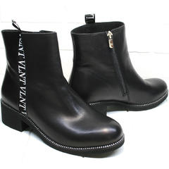 Полусапожки ботинки женские Jina 6845 Leather Black
