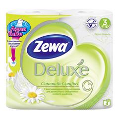 Бумага туалетная Zewa Deluxe 3-слойная белая с ароматом ромашки (4 рулона в упаковке)