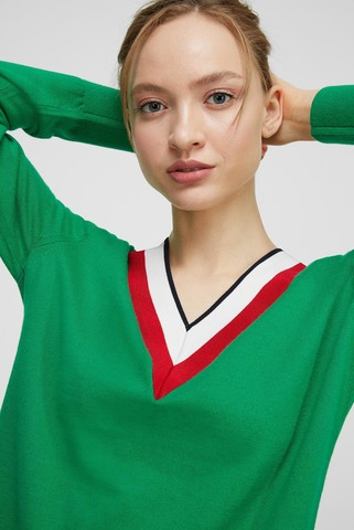 Женский зеленый пуловер GLOBAL STRIPE V-NK SWT LS Tommy Hilfiger