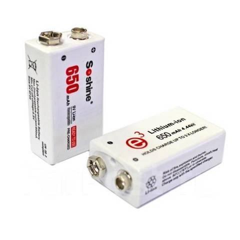 Аккумуляторы SoShine 6F22, крона, 650mAh, 7.4V, Li-ion