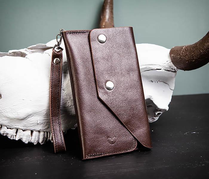 WL242-2 Вместительный кошелек (клатч) из натуральной кожи, ручная работа фото 02