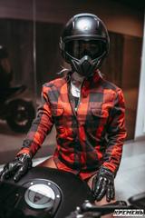 Моторубашка женская John Doe Kevlar, красный/чёрный