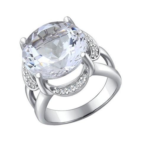 92010196 - Кольцо с горным хрусталём из серебра