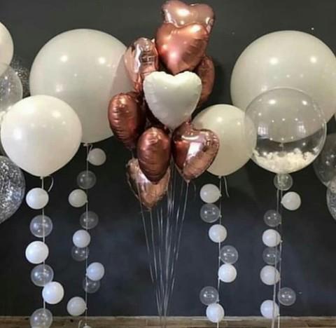 Букет шаров-сердец, шары-гиганты на воздушной гирлянде