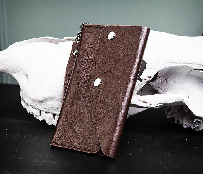 WL242-2 Вместительный кошелек (клатч) из натуральной кожи, ручная работа фото 03