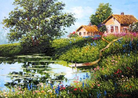 Картина раскраска по номерам 40x50 Дома с тропинкой к озеру
