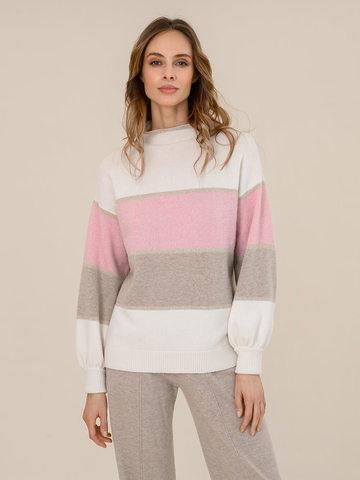 Женский свитер молочного цвета из шерсти и кашемира в полоску - фото 2