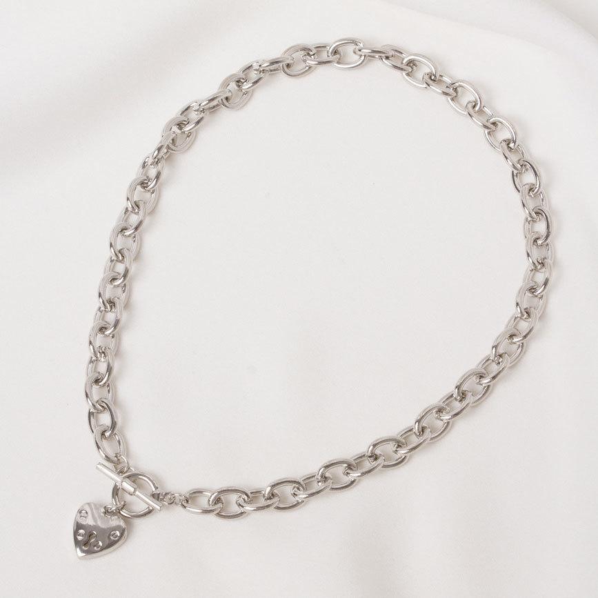 Колье-цепь с сердечком и замком-тогл (серебристый)