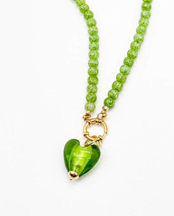 Чокер из камня 6 мм / green snow quartz /