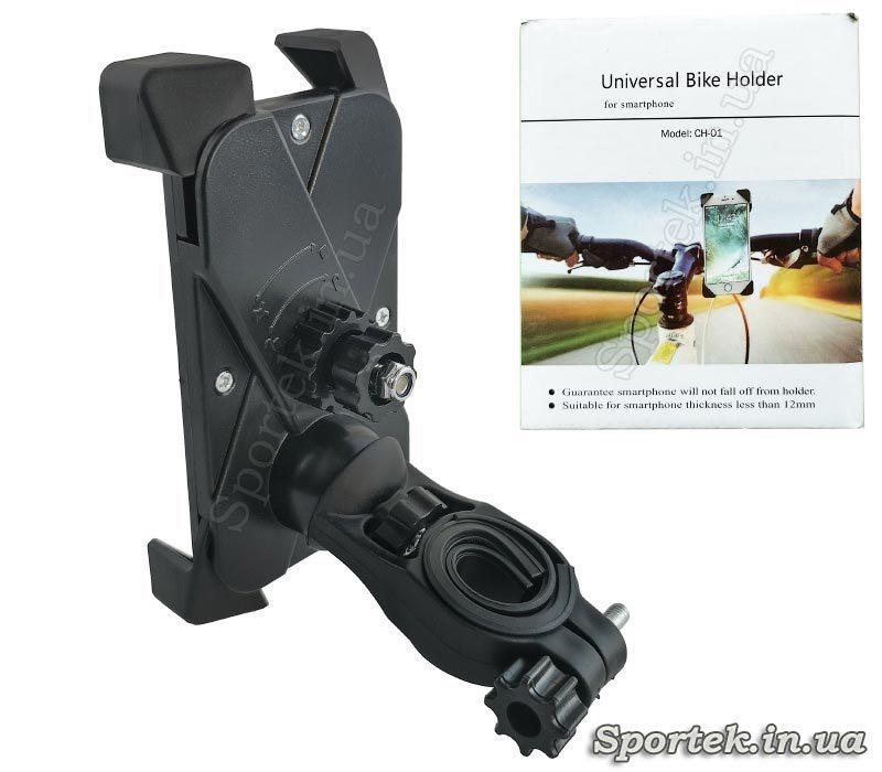 Вид сзади на универсальный велосипедный держатель для смартфона CH-01