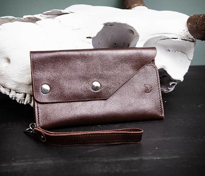 WL242-2 Вместительный кошелек (клатч) из натуральной кожи, ручная работа фото 04