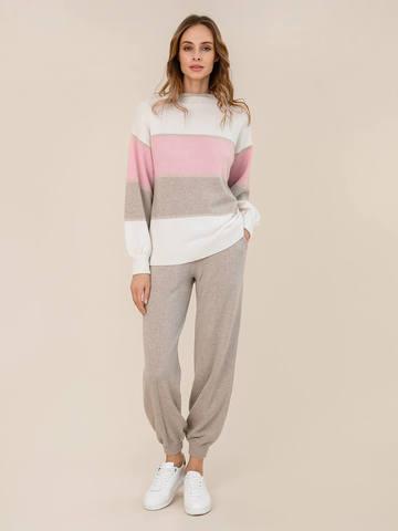 Женский свитер молочного цвета из шерсти и кашемира в полоску - фото 5