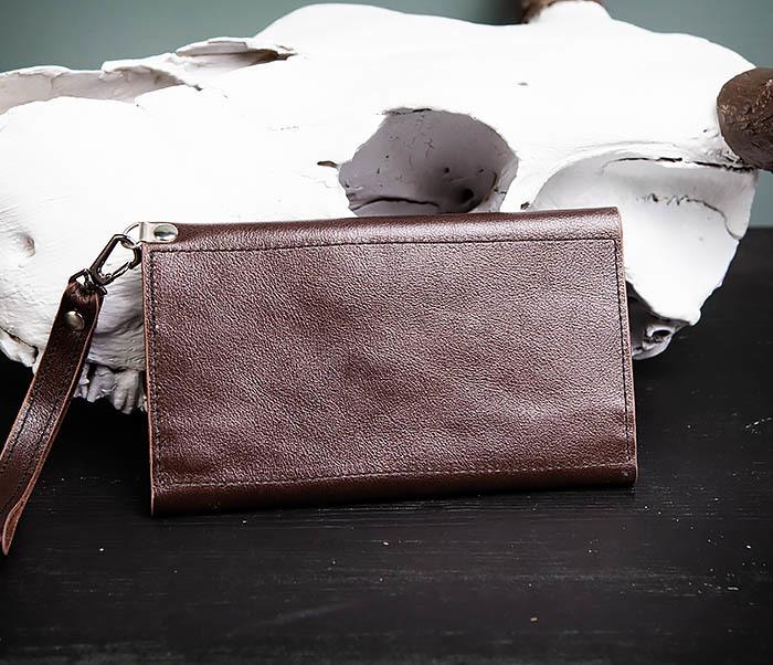 WL242-2 Вместительный кошелек (клатч) из натуральной кожи, ручная работа фото 05
