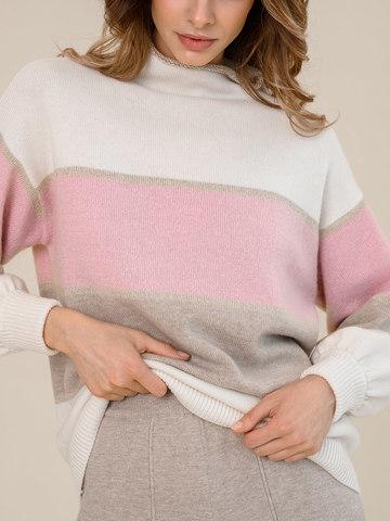 Женский свитер молочного цвета из шерсти и кашемира в полоску - фото 3