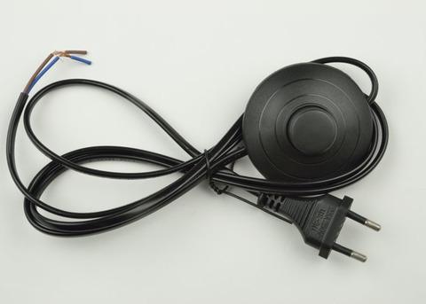 UCX-C20/02A-170 BLACK Сетевой шнур с вилкой и выключателем (напольный). 2А, 500Вт, 1,7м. Черный. ТМ Uniel