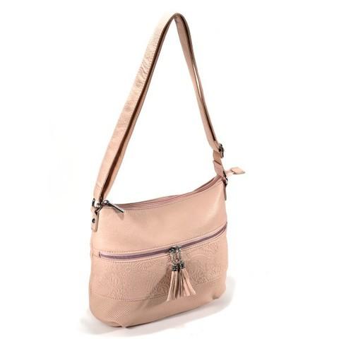 Розовая сумка мягкой формы с тиснением