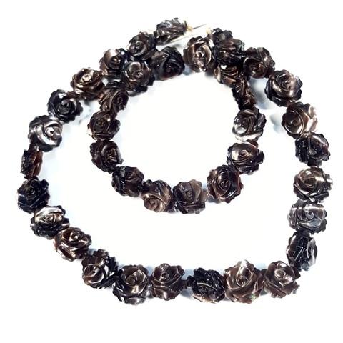 Бусина Розочка 2-х сторонняя резная из темного перламутра 10 мм 1 шт