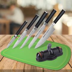 Набор из 5 кухонных ножей Samura Mo-V, точилки KSS-3000 и разделочной доски